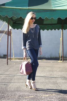 Blogger Lacy rose in a Deb Shops embellished sweatshirt, skinnies and leopard heels!