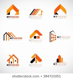 Illustration about Orange and Black House logo set vector design. Illustration of black, modern, corporate - 67589390 Abstract Logo, Abstract Images, Bauunternehmen Logo, Building Logo, Real Estate Logo Design, Logo Process, Interior Logo, Orange Logo, Professional Logo Design