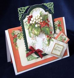 Joanna Sheen project - One of my favourite samples for the show - I love floral cards for Christmas (there's a surprise! Step Cards, Christmas Cards To Make, Victorian Christmas, Card Ideas, Birthday Cards, Gift Wrapping, Table Decorations, My Favorite Things, Winter