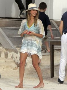 On her St. Barts getaway in April, Jessica Alba was ready for a beach day in her zig-zag Missoni caftan, white denim cutoffs, and Tory Burch fedora.