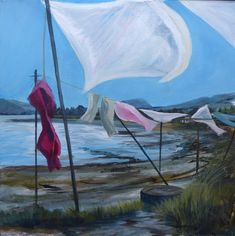 I loved painting this line full of washing waving free in the Scottish breeze on the beach outside my home Scottish Highlands, Love Painting, Breeze, Art Decor, Original Paintings, Waves, Fine Art, Beach, Artwork