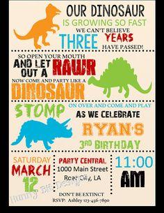 Dinosaur RAWR Birthday Invitation Boy by HunnyBitDesigns on Etsy