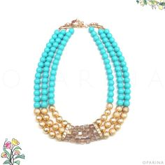 Collar de Perlas Turquesa con Dorado y Brillo. #oparina #christmasgift #christmas #gift  #madewithstudio