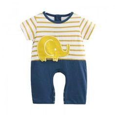 Elephant Applique Short-sleeve Stripes One Piece for Baby and Toddler