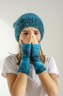 Hottest Pictures hand knitting for kids Style Blue hand knitted cap and fingerless mittens for kids image 1 Fingerless Mittens, Knit Mittens, Knitted Hats, Knitting For Kids, Hand Knitting, Baby Vest, Knit Caps, Baby Wearing, Arm Warmers
