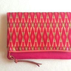 Pink, Peach, and Green Diamond Print Foldover Clutch / Pink Zippered Purse/ Bridesmaid Gift/ Magenta Purse by MaidenAttempts on Etsy