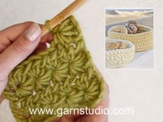 In this DROPS video we show how to crochet a star stitch pattern back and forth. You start by crocheting an uneven number of chain sts. You need a minimum. Crochet Tutorial, Crochet Video, Free Crochet, Knit Crochet, Crochet Afgans, Crochet Dishcloths, Crochet Stitches, Drops Design, Stitch Patterns