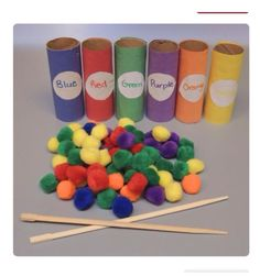 Teaching colors by practicing fine motor skills.the chopsticks may be complicated for most kids. could use clothespin, tweezers.great for fine motor Preschool Colors, Teaching Colors, Art Center Preschool, Toddler Fun, Preschool Activities, Preschool Prep, Quiet Time Activities, Dementia Activities, Kids Fun