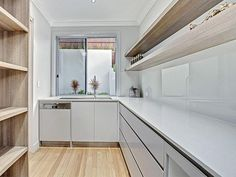 Inside butlers pantry behind kitchen. Dishwasher inside, open pantry to the left. Inside butlers p Kitchen Island With Sink And Dishwasher, Small Dishwasher, Stools For Kitchen Island, Prep Kitchen, Open Plan Kitchen, Kitchen Pantry, Rustic Kitchen, Scullery Ideas, Pantry Inspiration