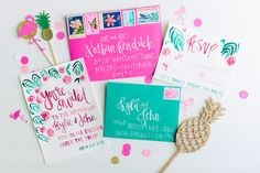 colorful wedding invitation suite - photo by Madison Short Photography http://ruffledblog.com/sunny-palm-springs-wedding-inspiration