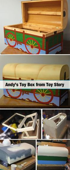 to Build Andy's Toy Chest from Toy Story Toy Story 3, Toy Story Theme, Festa Toy Story, Toy Story Party, Toy Story Birthday, Andys Room Toy Story, Toy Story Nursery, Toy Story Bedroom, Bedroom Toys