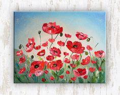 Sunrise poppies  Original Oil Painting on canvas palette
