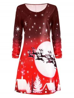 36fa893ef68 2017 Christmas Midi Shift Dress Long Sleeve Autumn Winter Spring Crew Neck  Elegant Fashion Ladies Party Vestidos Plus Size