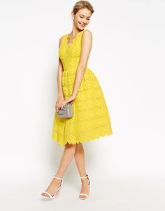 Chi Chi London Scallop Lace Full Midi Dress, from asos.com - http://themerrybride.org/2015/04/08/bridesmaid-dress-options-from-asos-com/