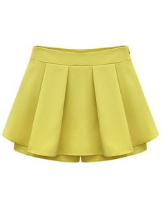 *Yellow Mid Waist Pleated Chiffon Skirt Shorts - Sheinside.com