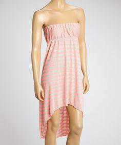 #zulilyfind Cute Pink Stripe Hi-Low Dress just $14.99 on Zulily #zulilyfinds