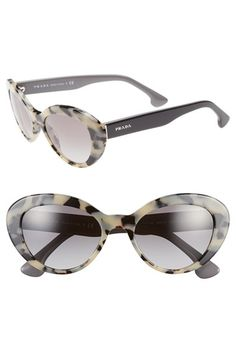 Women's Prada 'Fashion Catwalk' 53mm Cat Eye Sunglasses - White Havana