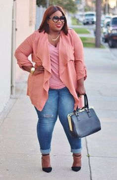 Love!!! Plus Size Clothing for Women , Jessica Kane Trench Cardigan , Blush