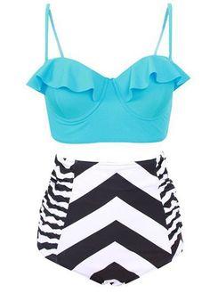 9b8c2fae30 High Waist Swimwear Ruffle Vintage Retro Beach Swimsuit 2017 Bikinis Women  Bandage Striped Bathing Suit Plus Size Bikini Set