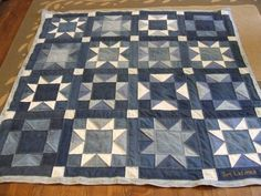 denim quilt, love the mix of blocks.