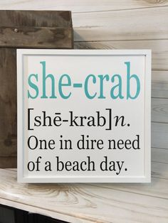 I need this: Beach sign crab sign coastal decor crab decor gift for her beach house decor wood beach sign beach gift beach quote decoration