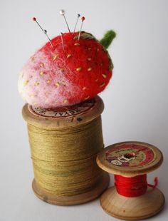 Original Needle Felted Strawberry Pin Cushion by MissBumbles