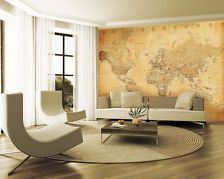 Vintage World Map Wallpaper Mural: love the look, wish it was canvas instead of wallpaper. World Map Mural, World Map Wallpaper, Wall Wallpaper, Wallpaper Samples, Modern Paint Colors, Paint Colors For Living Room, Room Colors, Bed In Living Room, Home Living