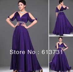 Wholesale - 2013 New Sexy V Neck Beading Waistband Purple Long Chiffon Evening Dresses With Sleeves PD0626 $139.80