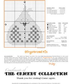 The Cricket Collection! - Our Gift to You! Cross Stitch Freebies, Cross Stitch Charts, Cross Stitch Patterns, Cross Stitching, Cross Stitch Embroidery, Halloween Cross Stitches, Cross Stitch Finishing, Little Designs, Christmas Cross