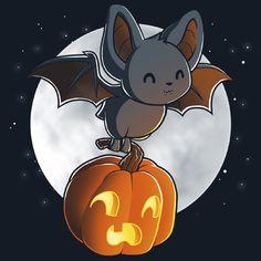 Don't Look Down bat & Pumpkin from TeeTurtle - Halloween Anime Halloween, Cute Halloween Drawings, Halloween Bats, Cute Halloween Tattoos, Kawaii Halloween, Happy Halloween, Cute Animal Drawings, Kawaii Drawings, Cute Drawings
