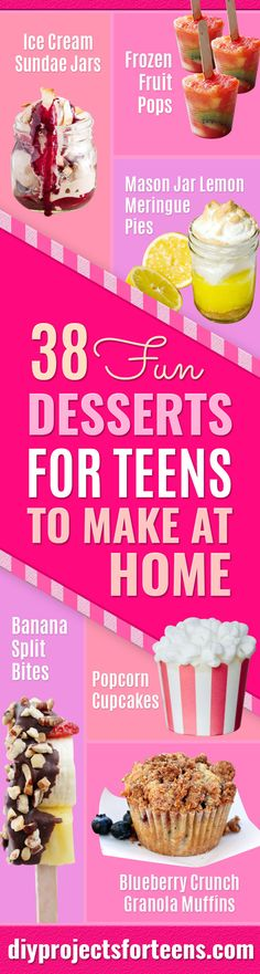 Easy Desserts for Teens to Make at Home - Cool Dessert Recipes That Are Simple and Quick Enough For Teens, Teenagers and Older Kids - Best Dorm Snacks and Ideas - Microwave, No Bake, 3 Ingredient, Chocolate, Mug Cakes, Doughnuts, Pies, Ice Cream and More http://diyjoy.com/desserts-teens-to-make-at-home