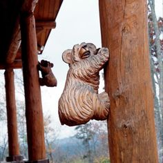 Its time to relax on your very own Log Home porch like these beautifully crafted bears!⠀ #CaribouCreekLogHomes #HandCraftedLogHomes Cabin Porches, Home Porch, Cabin Decorating, Decorating Ideas, Log Home Designs, Log Cabin Homes, Decks, Hand Carved, Lion Sculpture