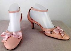 FOKUS WOMENS PEACH/PINK BOW ANKLE STRAP ROUNDED KITTEN HEEL LADIES SHOE SIZE 38