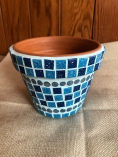pastel green and red 11cm Glass Mosaic Plant Pot