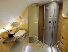 Emirates A380 business class bathroom with shower.