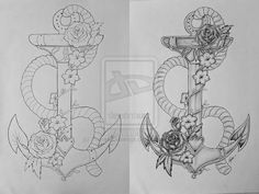 Anchor tattoo design by ThereseDrawings on DeviantArt I would love to have this! I would add a little frog in there too though. Top Tattoos, Cover Up Tattoos, Tattoo Drawings, Sleeve Tattoos, Tatoos, Swallow Tattoo Design, Anchor Tattoo Design, Nautical Themed Tattoos, Feminine Anchor Tattoo