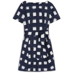 Tory Burch Stretch Poplin Tie Dress ($195) ❤ liked on Polyvore featuring dresses, navy blue, graphic print dress, blue print dress, navy blue summer dress, summer dresses and full skirt