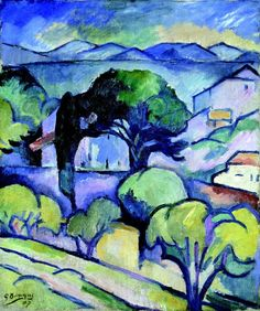 Georges Braque, Big trees in L'Estaque, oil on canvas, Museum of Modern Art, New-York Georges Braque, Paul Gauguin, Raoul Dufy, Alberto Giacometti, Henri Matisse, Pablo Picasso, Landscape Art, Landscape Paintings, Fauvism Art