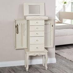 Shabby Chic Antique White Jewelry Armoire Jewelry Armoires at