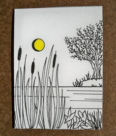Cattails and Tree Original ACEO by ellemardesigns on Etsy, $8.00
