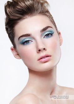 3e2ceae8b18 aquamarine eyes, thick eyelashes, thin eyeliner, dusted pink cheeks and  light pink lips.