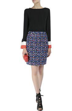 Женская синяя буклированная мини-юбка прямого кроя Emilio Pucci, сезон FW 16/17, арт. 66/RV92/66704 купить в ЦУМ | Фото №2