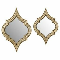 "Set of 2 quatrefoil-shaped wall mirrors.         Product:   Small and large mirror    Construction Material: Polyresin, engineered wood and mirrored glass      Color:   Champagne          Features:   Modern sophistication                           Dimensions:      Small: 22.5"" H x 19"" W    Large: 27"" H x 18"" W"