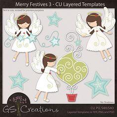 Merry Festives 3 CU Layered Templates