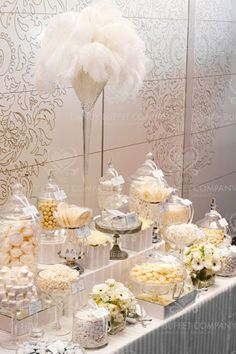 ISES Candy Buffet with stunning ostrich feathers
