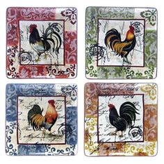 Certified International Lille Rooster 10.5-in Square Dinner Plates (Set of 4) - Overstock™ Shopping - Great Deals on Certified International Plates