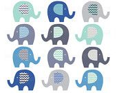 elephant clip art, clipart elephants, washi tape patterns rainbow bright colors, cute images for invitations, personal / small comm - 024. $7.00, via Etsy.