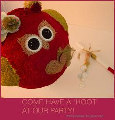 Owl pinata in red & gold by pinatafun on Etsy