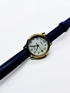 Ladies Tiny Gold Timex Indiglo Date Watch | Blue Leather Timex Watch – Vintage Radar Retro Watches, Vintage Watches, Watches For Men, Timex Indiglo, American Manufacturing, Timex Watches, Telling Time, Watch Model