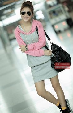 Winter Fashion Women's Hooded Style Mixed Color Dress Pink on BuyTrends.com, only price $19.59